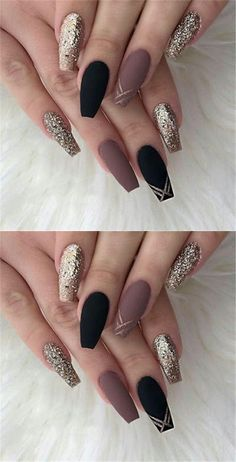 50 Matte Black Coffin Nail Ideas Trend in Cool 2019 Cute Acrylic Nails, Cute Nails, Pretty Nails, Hair And Nails, My Nails, Wedding Nail Polish, Black Coffin Nails, Holographic Nails, Nail Polish Designs