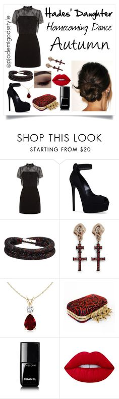 """Hades' Daughter Fall #2"" by misszizzentyu ❤ liked on Polyvore featuring Sandro, Casadei, Swarovski, Delfina Delettrez, Alexander McQueen, Chanel and Lime Crime"