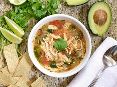This Chicken and Lime Soup is light, fresh, and flavorful with shredded chicken, vegetables, and a tangy lime infused broth. BudgetBytes.com above