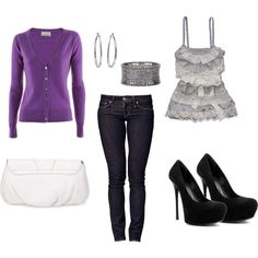 love the purple cardigan