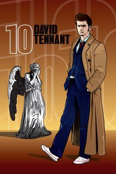 MY FAVORITE ARTIST FOR DOCTOR WHO AND OTHER BRITISH ICONS!! Doctor Who  David Tennant and Weeping Angel  18 x 12 by DadManCult, $12.99