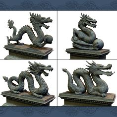Asian Dragon Statues