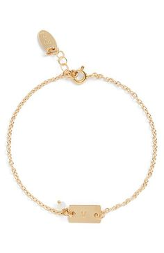 Women's Nashelle Shaka Initial 14k-Gold Fill Bar Bracelet - 14k Gold Fill V