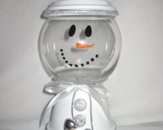 Medium Sized Clay Snowman Candy Jar dish by SeasonalJars on etsy Christmas Candy, Christmas Snowman, Christmas Holidays, Christmas Decorations, Christmas Ornaments, Handmade Christmas, Clay Pot Projects, Clay Pot Crafts, Diy Crafts