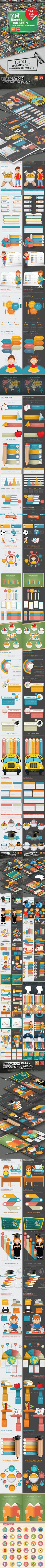 Bundle Education Infographics — Vector EPS #icon #school • Download ➝ https://graphicriver.net/item/bundle-education-infographics/19988171?ref=rabosch