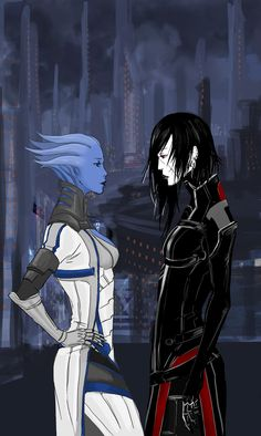 Liara and FemShep -  me3_meeting_again_by_banished_shadow-d5dncdw