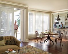 Luminette Vertical Shades by Hunter Douglas House Blinds, Blinds For Windows, Windows And Doors, Window Blinds, Room Window, Shutter Blinds, Large Windows, Door Window Treatments, Window Coverings