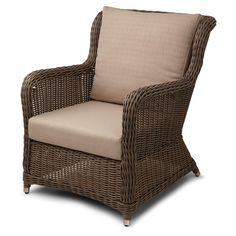 Alcee Resin Wicker Outdoor Arm Chair and Cushion -