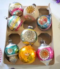 Vintage Christmas Ornaments Czechoslovakia Austria Shiny Brite.  I have one off these in my Christmastree