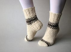 Patterned Hand Knitted Socks  100 Natural Organic Wool by milleta, €25.00
