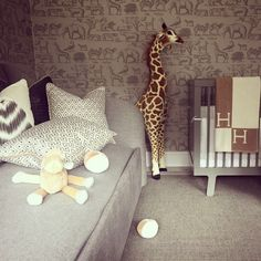 Can't get enough of this nursery! Everything turned out exactly as we hoped. #hermes #Avalon #nursery #kidsroom #sofabed #giraffe #wallpaper #cot #luxuryinteriors #sophiepatersoninteriors