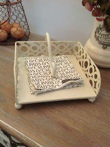 Shabby Chic Cream Metal Napkin Serviette Kitchen Stand Baskets   eBay