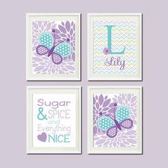 Lavender Violet Lilac Aqua Nursery Decor by LovelyFaceDesigns, $37.00