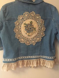 Romantic Denim Jean Jacket  Upcycled, Repurposed, Gypsy Girl, Boho Chic, Prairie by UpcycledandFun on Etsy