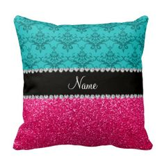 =>Sale on          	Personalized name turquoise damask pink glitter pillows           	Personalized name turquoise damask pink glitter pillows in each seller & make purchase online for cheap. Choose the best price and best promotion as you thing Secure Checkout you can trust Buy bestShopping   ...Cleck Hot Deals >>> http://www.zazzle.com/personalized_name_turquoise_damask_pink_glitter_pillow-189723503798560247?rf=238627982471231924&zbar=1&tc=terrest