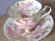 Antique pink and gold tea cup set, Royal Chelsea hand painted  English