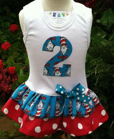 Cat in the Hat Number Dress  Available 03 by BabyThreadsByLiz, $23.00