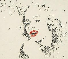 Marilyn Monroe Pixel Art. Yes, those are real people. I wish i could have been the lucky one to be her beauty mark.