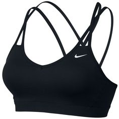 Nike Pro Indy Strappy Bra ($19) ❤ liked on Polyvore featuring activewear, sports bras, nike sportswear, nike sports bra, strappy sports bra, nike and nike activewear