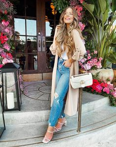#slippers #outfit #jean #summer White Heels, White Beige, Jean Outfits, Duster Coat, Slippers, Clothes For Women, Jackets, Summer, Design