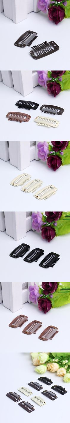 100 pcs 32mm 9-teeth Hair Extension Clips Snap Metal Clips With Silicone Back For Clip in Human Hair Extensions Wig Comb Clips