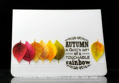 Stamping Deets: Rainbow of Leaves; #ajillianvance