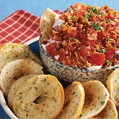 Creamy BLT Dip: 1 lb. bacon, 1 cup mayo, 1 cup sour cream, 2 tomatoes.  Optional: chopped fresh chives