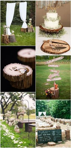 Fab Country Rustic Wedding Ideas with Tree Stumps #SeptemberWeddingIdeas