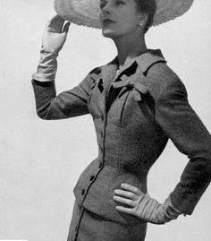 1954 Model in elegant tweed day-suit by Jacques Fath, photo by Georges Saad