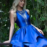 Rachel Allan Blue Homecoming Dresses Jewel Neck Beaded Graduation Dress Knee Length Short Prom Gowns With Tiered Skirt   · BallaDresses · Online Store Powered by Storenvy