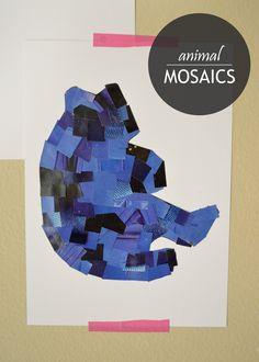 Fun Animal Mosaics - a great way to make art and develop fine motor skills!