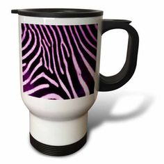 3dRose Purple Zebra Animal Print, Travel Mug, 14oz, Stainless Steel
