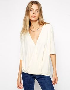 ASOS Crepe Wrap Front Top - Cream