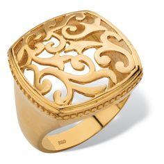 Palm Beach Jewelry PalmBeach 18k Gold over Silver Squared Filigree Milgrain Edging Ring (Size ) Women's