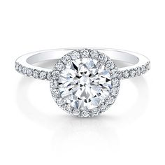 18K White Gold Diamond Band Diamond Halo Engagement Ring