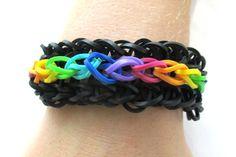 Rainbow Loom Flip Side Black and Rainbow by LetsBandTogether, $5.00