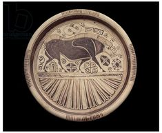 Wild boar  on Etruscan plate, c.700BCE. Museum of Fine Arts, Boston