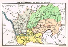 "Stanford's G.B. County Map - ""BRISTOL"" - Chromo - 1885"