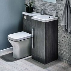Ideas for Small Bathrooms Harbour Icon Spacesaving Combination Bathroom Toilet & Sink Vanity Unit - Avola Grey you can find similar pins below. Toilet And Sink Unit, Bathroom Sink Units, Sink Vanity Unit, Toilet Sink, Bathroom Toilets, Bathroom Layout, Bathroom Ideas, Sink Toilet Combo, Grey Toilet