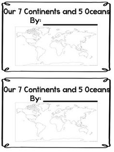 This is a Mini Book to help review or introduce the 7 continents and 5 oceans. There are several different world maps here to show as well as a separate page for each student to identify the shape of each continent. This is also a fill in the blank book where students have to write in the names of each continent.