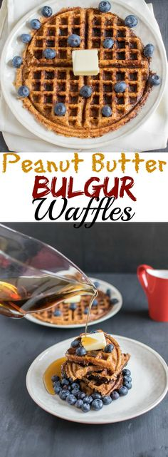 Peanut Butter Bulgur Waffles | homemade peanut butter and whole grain ancient grain mixed together to bake delicious and healthy vegan waffles for breakfast/brunch | kiipfit.com