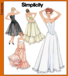 Misses' Lingerie for Bridal or Historical Gowns, Steampunk Goth Hollywood Glam Simplicity Sewing Pattern 5006 Sizes 14, 16,18, 20