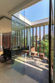 Sunroom on the top level with glass walls and ceiling