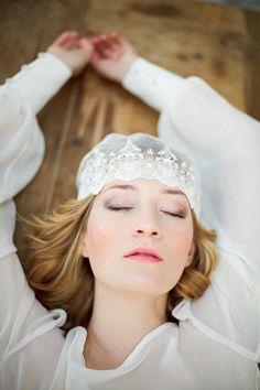Bridal lace tulle cap, juliette cap head piece, wedding hair accessory, vintage inspired, головной убор, кепе, шапочка, невеста, фата