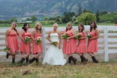 bridesmaid dress with boots   wedding wednesday: bridesmaids in boots   Henkaa Blog