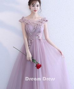 f9914464b78 Pink lace tulle long prom dresses
