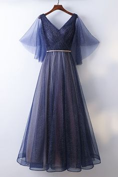 Shop affordable Beautiful Flowy Navy Blue Long Cheap Prom Dress With Bling online. Custom-made any plus size or color. Cheap Prom Dresses, Ball Dresses, Ball Gowns, Evening Dresses, Formal Dresses, Navy Dress Outfits, Fashion Dresses, Pretty Outfits, Pretty Dresses