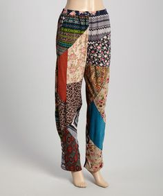 Brown & Blue Patchwork Pants by Sacred Threads Boutique #zulily #zulilyfinds