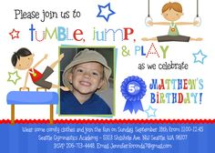 Boy Gymnastics Birthday Invitation, Gym Boy Party Invite, Tumbling Party, Customized Photo Invitation, Printable or Printed