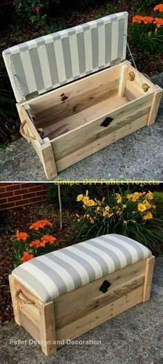 Pallet kids couch with storage box ideas In the field of interior design, wooden pallets make a mark to get more extensive ideas on all the grounds of wooden items. Pallet furniture and storage ideas make your home design perfect and innovat Weathered Furniture, Wooden Pallet Furniture, Wooden Pallets, Wooden Diy, 1001 Pallets, Pallet Benches, Pallet Tables, Pallet Bar, Pallet Sofa